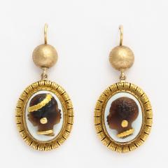 Victorian Hardstone Blackamoor Cameo Earrings - 376045