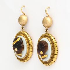 Victorian Hardstone Blackamoor Cameo Earrings - 376046