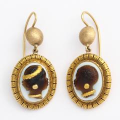 Victorian Hardstone Blackamoor Cameo Earrings - 376047