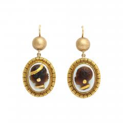 Victorian Hardstone Blackamoor Cameo Earrings - 425498
