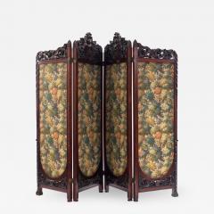 Victorian Mahogany 4 Fold Screen - 1393935