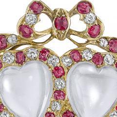 Victorian Moonstone Diamond Ruby Brooch - 986051