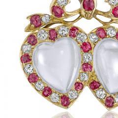 Victorian Moonstone Diamond Ruby Brooch - 986052