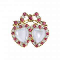 Victorian Moonstone Diamond Ruby Brooch - 986648