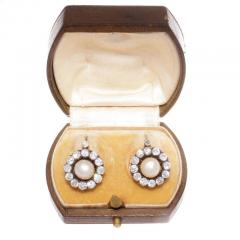 Victorian Natural Pearl Diamond Earrings - 335688