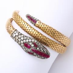 Victorian Old Mine Diamond and Ruby Coiled Snake Bracelet - 170319
