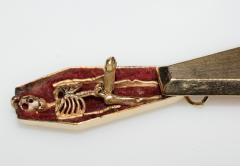 Victorian Pendant Skeleton Gold Coffin Erotic - 1262429