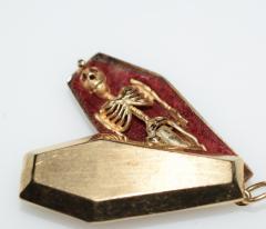 Victorian Pendant Skeleton Gold Coffin Erotic - 1262430