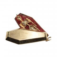 Victorian Pendant Skeleton Gold Coffin Erotic - 1263302