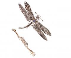 Victorian Sapphire Diamond Silver Gold Dragonfly Brooch - 430014