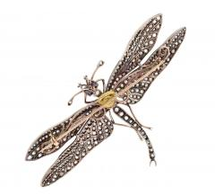 Victorian Sapphire Diamond Silver Gold Dragonfly Brooch - 430016