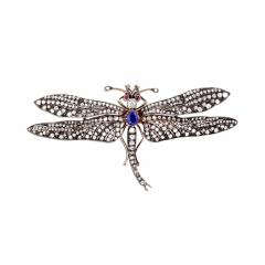 Victorian Sapphire Diamond Silver Gold Dragonfly Brooch - 434480