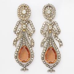 Victorian Topaz and Diamond Pendant Earrings - 253874