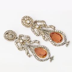 Victorian Topaz and Diamond Pendant Earrings - 253875