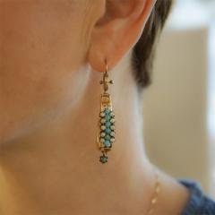 Victorian Turquoise Pearl and Gold Scroll Earrings - 941428