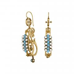Victorian Turquoise Pearl and Gold Scroll Earrings - 942187