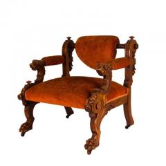 Victorian Walnut Low Chair with Swiveling Back USA 1880 - 1719976