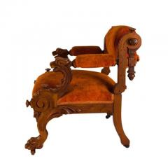 Victorian Walnut Low Chair with Swiveling Back USA 1880 - 1719978