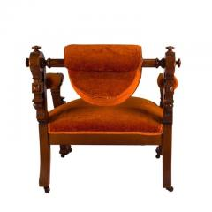 Victorian Walnut Low Chair with Swiveling Back USA 1880 - 1719982