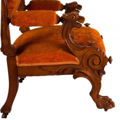 Victorian Walnut Low Chair with Swiveling Back USA 1880 - 1719992