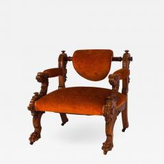 Victorian Walnut Low Chair with Swiveling Back USA 1880 - 1720092