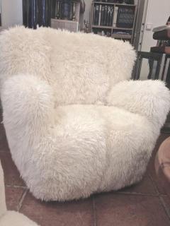 Viggo Boesen Viggo Boesen Pair of Hairy Club Chairs Covered in Sheep Skin Fur - 366730