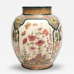 Vilmos Zsolnay Vase with Four Panels of Flowers - 78026