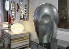 Vincenzo Nason 1970s V Nason Italian Vintage Cast Silver Mirror Glass Abstract Sculpture Lamp - 2141878