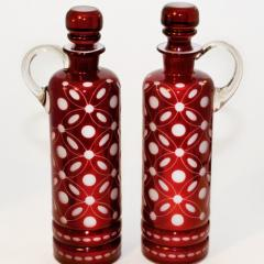 Vine Glass Decanters Pair Cranberry Glass Cut to White Opaline Glass - 139550