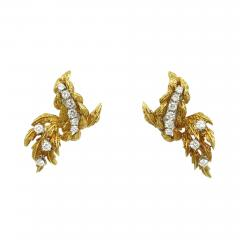Vintage 18kt gold dangle earrings with diamonds - 1165893