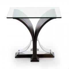 Vintage Art Deco Ebonized Walnut Aluminum and Glass Top Side Table - 1097418