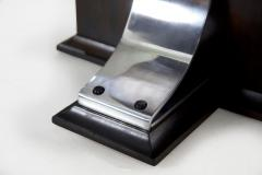Vintage Art Deco Ebonized Walnut Aluminum and Glass Top Side Table - 1097422
