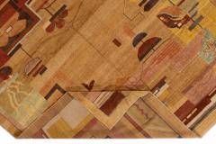 Vintage Art Deco Style Square Wool Rug - 1550970
