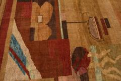 Vintage Art Deco Style Square Wool Rug - 1550974