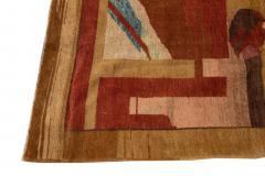 Vintage Art Deco Style Square Wool Rug - 1550977