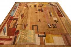 Vintage Art Deco Style Square Wool Rug - 1550979