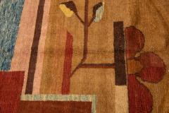 Vintage Art Deco Style Square Wool Rug - 1550980