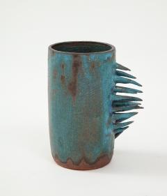 Vintage Blue Brown Ceramic Vase with Spike Edge signed  - 1934331
