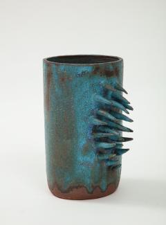 Vintage Blue Brown Ceramic Vase with Spike Edge signed  - 1934332