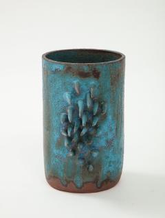 Vintage Blue Brown Ceramic Vase with Spike Edge signed  - 1934333