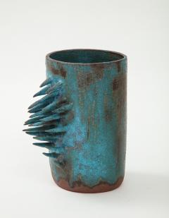Vintage Blue Brown Ceramic Vase with Spike Edge signed  - 1934334
