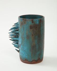 Vintage Blue Brown Ceramic Vase with Spike Edge signed  - 1934337