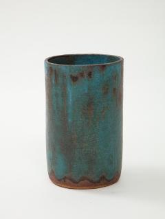 Vintage Blue Brown Ceramic Vase with Spike Edge signed  - 1934347