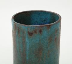 Vintage Blue Brown Ceramic Vase with Spike Edge signed  - 1934348