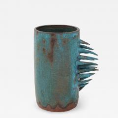 Vintage Blue Brown Ceramic Vase with Spike Edge signed  - 1955337