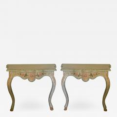 Vintage Cannell Chaffin Louis XV Style Console Table Nightstands a Pair - 2010412