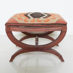 Vintage Carved Wood Curule Stool Studded Brass Bench in Handwoven Kilim - 1607439
