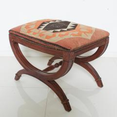 Vintage Carved Wood Curule Stool Studded Brass Bench in Handwoven Kilim - 1607440