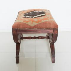 Vintage Carved Wood Curule Stool Studded Brass Bench in Handwoven Kilim - 1607441