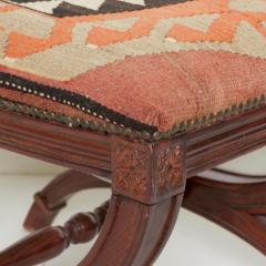 Vintage Carved Wood Curule Stool Studded Brass Bench in Handwoven Kilim - 1607444